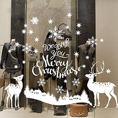 NT0403-01 Vetrofanie natalizie - Paesaggio con renne - Misure 120x90 cm - bianco - Vetrine negozi per Natale, stickers, adesivi