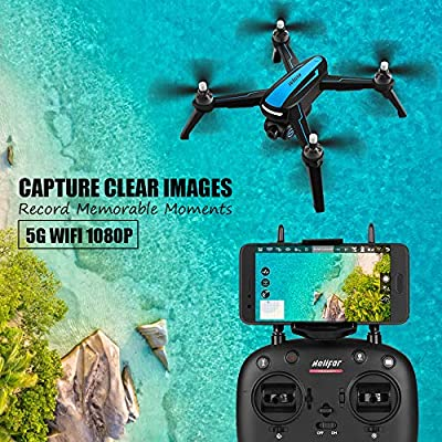 HELIFAR B3 GPS Drone, Wifi FPV RC Drone with Camera Live Video GPS Return Home Quadcopter with Adjustable Wide-Angle HD Camera - Follow Me, 5G WiFi Transmission, Altitude Hold, Long Control Distance