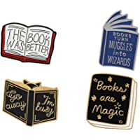 4pcs Enamel Pin Hedgehog Book Pin Cartoon Series Badge Literature Lovers Gift