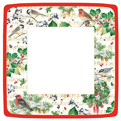 Entertaining with Caspari Winter Song Square Dinner Plates, Green by Entertaining with Caspari Green Square Dinner Plate