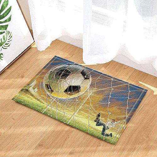 fdswdfg221 Malerei Decor Boy Spielen Fußball Badteppiche für Badezimmer Rutschfeste Boden Entryways Outdoor Indoor Haustürmatte Kinder Badematte Gelb