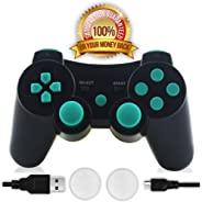 CFORWARD PS3 Controller, Wireless Gamepad Double Vibration Six-Axis Remote Joystick for Playstation 3 with Charging Cord (Lag