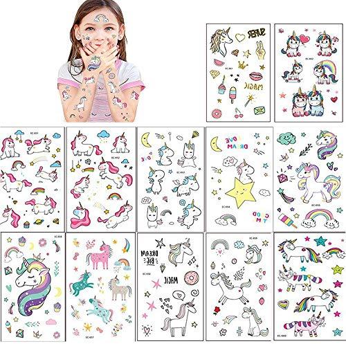 7699cbf4b SouthStar Conjunto de Tatuajes de Unicornio, 15 Piezas Unicornio y Rainbow  Tatuajes Temporales Sticker de