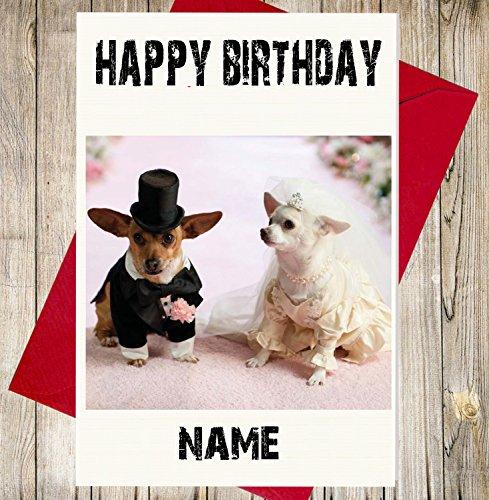 Personalisierte Geburtstagskarte–Braut und Bräutigam Chihuahua Hunde–Jeder Name und Alter Druck auf der Vorderseite (Bräutigam Boxer)