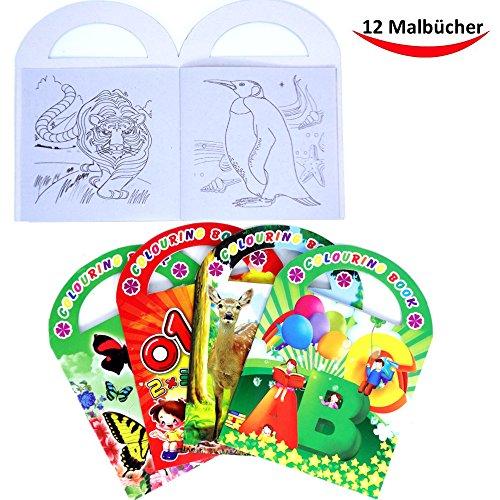 Preisvergleich Produktbild German Trendseller® - 12 x Malbuch mit Henkel für Kinder Jungen & Mädchen  Mitgebsel  Kindergeburtstag  12 Stück