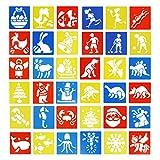 Funhoo Lot de 108pcs Pochoirs de Dessin en Plastique pour Enfants, Kit de Pochoirs d'Art Comprenant des Thèmes de Espace, Véhicule, Animaux, Jouets Éducatifs et Ludiques pour Voyage