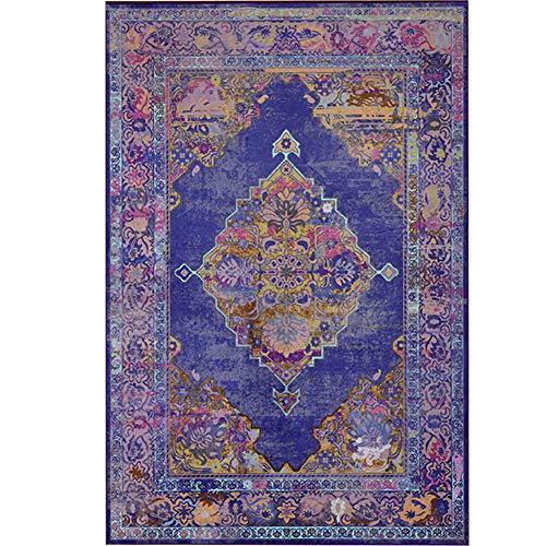 CosyHouse Alfombra clásica tradicional persa para sala de estar y dormitorio, antideslizante, acolchada, hermoso patrón floral vintage envejecido cuadrado área alfombra, Morado, 140cm*200cm
