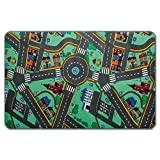 casa pura® Komfort Spielteppich Stadtleben | waschbarer Kinderteppich mit Häusern und Straßen | in 4 Größen erhältlich (100 x 165 cm)