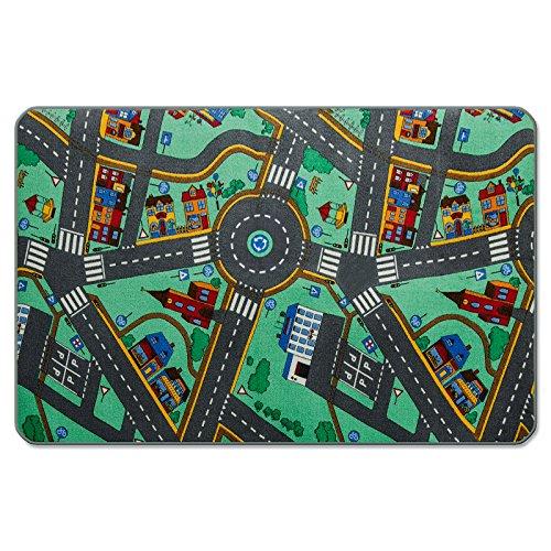 Preisvergleich Produktbild casa pura® Komfort Spielteppich Stadtleben | waschbarer Kinderteppich mit Häusern und Straßen | in 4 Größen erhältlich (80 x 120 cm)