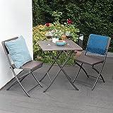 Park Alley Gartenstuhl in braun - klappbare Gartenstühle im 2er Set - Hochwertige Klappsessel in Rattanoptik - Hochlehner - Pflegeleichter Klappstuhl