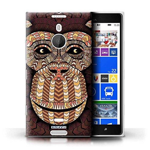 Coque en plastique pour Nokia Lumia 1520 Collection Motif Animaux Aztec - Loup-Mono Singe-Orange