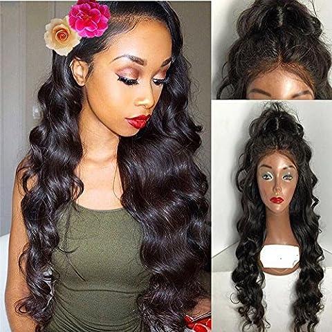 Helene Hair 8A Encantador Suelta la onda Bob peluca 100% Brasileño Virgen Cabello Humano Cabello frente del cordón Pelucas con el pelo del bebé para Mujer 180% Densidad ( 24 Pulgada