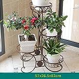 AMOS Blumenständer Balkon Wohnzimmer mehrstöckige Boden Blumentopf Rahmen Eisen Indoor Pflanze Rack ( Farbe : Chocolate , größe : 57*26.5*82cm )