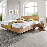 Pharao24 Bett aus Wildeiche Massivholz schwebend Breite 186 cm Tiefe 232 cm Liegefläche 180x220
