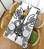 HAIXIA Tischdecke Viking Helm mit Horn Pfeil AXT Antik Krieg Keltischer Stil Mittelalter Schlacht Art Prints Schwarz Weiß, 55inch*55inch
