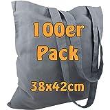 Cottonbagjoe Baumwolltaschen | 38x42 cm | unbedruckt | mit zwei langen Henkeln | bemalbar | Öktex 100 zertifiziert | Jutebeut