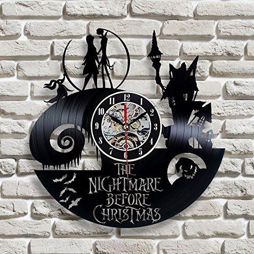 ALEILA Jack und Sally Theme Black Vinyl Record Wanduhr einzigartige kreative LED Modern Home Decor The Nightmare Before Christmas