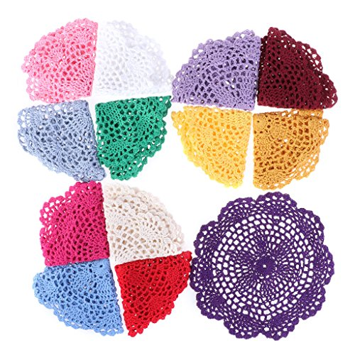 20 cm, bunt, Vintage-Design, Baumwolle, handgefertigt, gehäkelte Blumen-Spitze, Spitzen-Deckchen ()