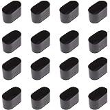 16 stuks ovale tafel stoel been punt, flexibele rubber als cover anti-kras meubilair vloer - 40x20mm (zwart)
