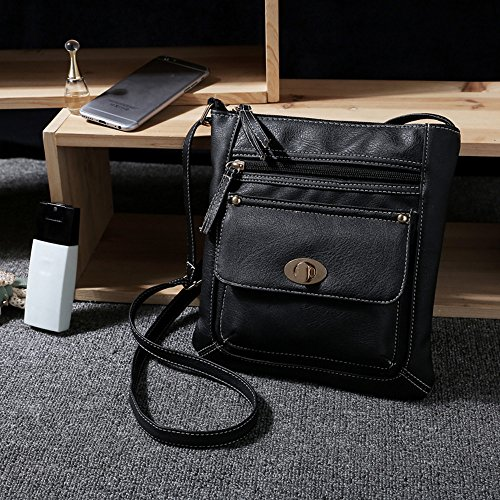 Longra Leather Satchel delle donne Crossbody spalla Messenger Bag Nero