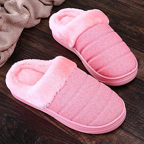 Icegrey Unisexe Hiver Chaussons Chaud Pantoufles Antidérapants Intérieur Chaussures Maison Slippers Rose