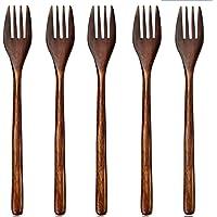 5 Pièces Fourchettes En Bois Set En Bois Vintage Style Brown Couverts Pratiques Vaisselle Couverts Set Fourchettes À…