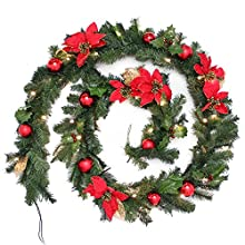 WeRChristmas Pre-Lit Decorated Garland Illuminated with 40 Warm White LED Lights, 9 feet - Red/Gold