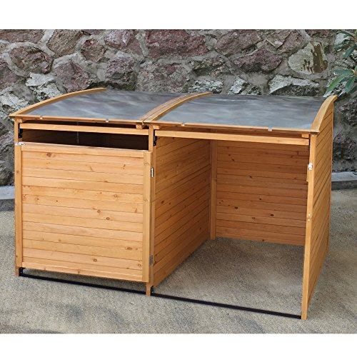 Mülltonnenbox Holz 240 L Gartenbox Mülltonnenverkleidung Mülltonne (Einzelbox + 2xAnbaubox) - 4