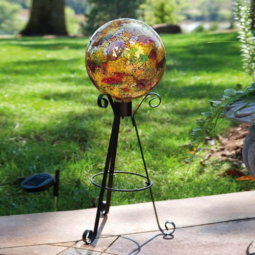 Evergreen Enterprises 842442 Mosaic Gazing Ball, Gold, 25.4x25.4x25.4 cm