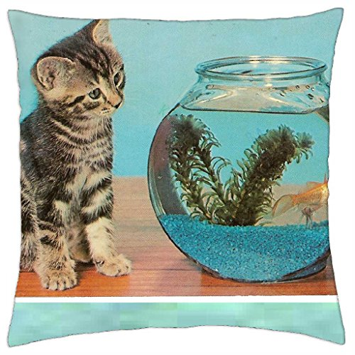 Kitty Cat & Goldfish Bowl - Throw Pillow Cover Case (18