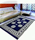 MBS Home Furnishing Ethnic Velvet Touch Abstract Chenille Carpet - 5 X 7 Feet, Circles of Life, Navy Blue