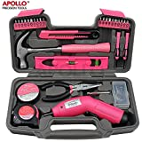 PINK-70 Piece Household Tool Kit with 6V Cordless Screwdriver