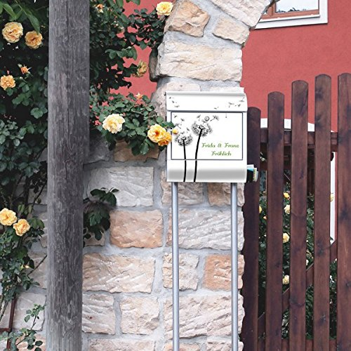 banjado – Individualisierter Briefkasten Standbriefkasten mit Burg-Wächter Standfuß und Motiv Pusteblume 2 - 5