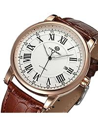Gute Dapper Herren Automatische mechanische Rose Gold Armbanduhr mit weißem Zifferblatt und Lederband