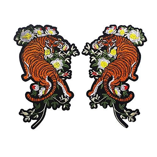 1Paar Spiegel Tiger Blume Paar Stickerei Patches Eisen auf Transfers Aufkleber für Kleidung Aufnäher DIY Crafts Supplies (Eisen Die Stickerei Transfers Auf Für)