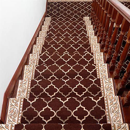 Liveinu Moderner Stil Selbstklebend Stufenmatten Treppen Teppich Waschbar Starke Befestigung Anthrazit Treppen-Matten 30x85cm (15 Stück) Kaffee Rechteck