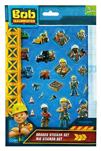 Undercover BODB7293 Kindergartentasche, Bob der Baumeister, ca. 21 x 22 x 8 cm Großes Sticker Set