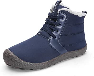 Axcone Homme Femme Chaussures Trekking Randonn/ée Bottes de Neige Hiver Imperm/éable Outdoor Boots Fourrure Cuir Imperm/éable Sneakers