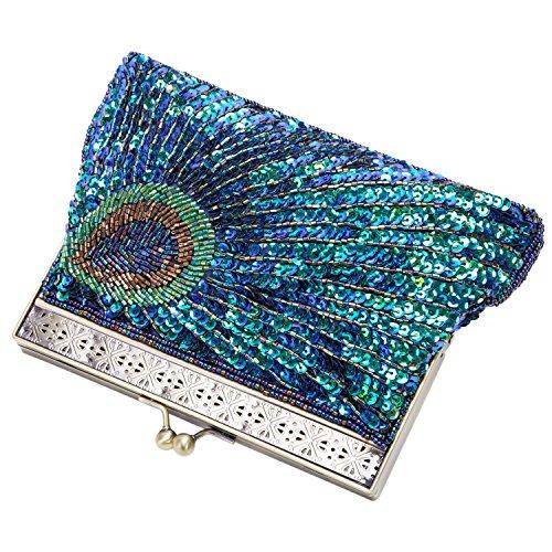 Damen Frauen Retro Clutch Abendtasche Handtasche mit Kettenriemen Perlen Pailletten Pfau 22 *4 *14 cm Grün