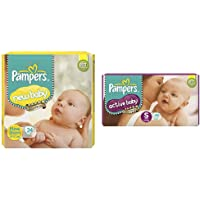 Pampers Active Baby Diapers, New Born, 24 Count & Pampers Active Baby Diapers, Small, 46 Count