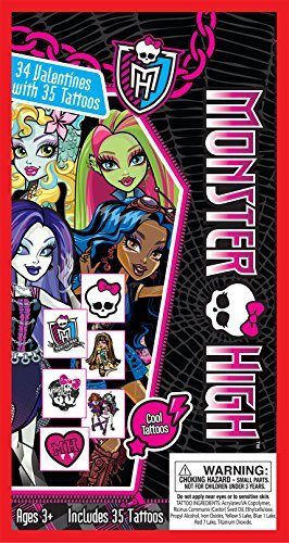 Paper Magic 34CT Deluxe - Tattoos Monster High Kids Classroom Valentine Exchange Cards by Paper Magic (Monster High Valentine)