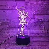 مصباح وهمي ثلاثي الابعاد من زيكزيك، مستشعر تاتش يغير شكل الابطال، 7 الوان متغيرة بنمط ذي شريف اوف بيلتوفر كايتلين، غرفة نوم ب