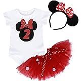 Jurebecia Bebé Niñas Es mi Primer/Segundo cumpleaños Trajes Conjuntos Princesa Vestido Tutu 3 Piezas Mameluco + Falda + Diade