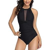 Ruched One Piece Swimsuit Tummy Control Swimming Costume for Women Vintage Mesh Bikini Bathing Suit Swimwear
