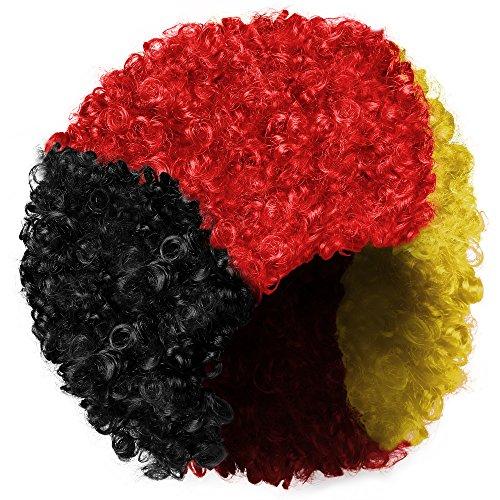 Fasching Masken Perücken Afro Rasta Reggae Africa Crazy 60 80 Hippie Hippi Locken - Schwarz Gelb Rot