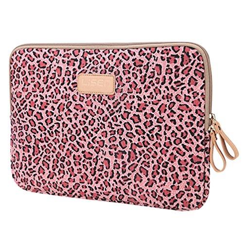 Baymate Unisex Tasche Mit Leopard Muster Macbooktasche Für 11.6-15 Netbook / Laptop / Notebook Computer 11.6 Zoll Leopard Rot