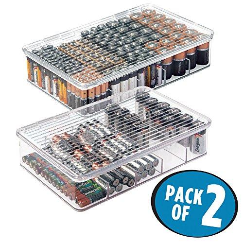 mDesign 2er-Set Batteriebox für AA, AAA und weitere Batterien – stapelbare Box für Akkus und Ladegerät – Batterieaufbewahrung – ideal für Büro und Garage – durchsichtig