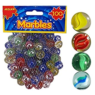 ARSUK® 100 x CLASSIC RETRO GLASS COLOURED MARBLES KIDS TOYS PARTY BAG FILLERS STUFFERS