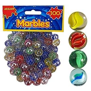 ARSUK 100 Glasmurmeln, Spielzeug, Deko Kugeln Durchsichtig Klare Glasmurmeln,Dekoration Glasperlen bunt für Zuhause oder Kinder Spiele, Schulgeschenk
