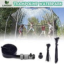Landrip Trampoline Sprinklers, Trampoline Waterpark Water Trampoline Play for the Summer Outdoor Water Sprinklers(39.3 Feet)